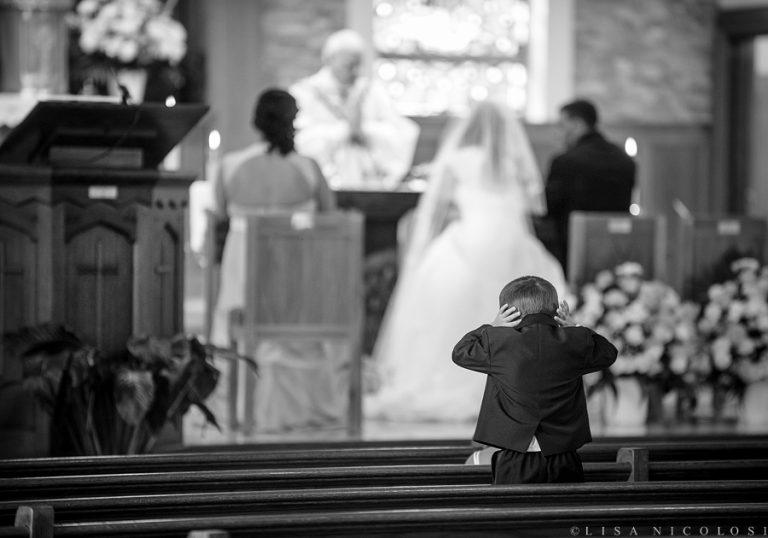 "Ring Bearer Can No Longer ""Bear"" Full Catholic Mass Ceremony | Long Island Wedding Photographer"
